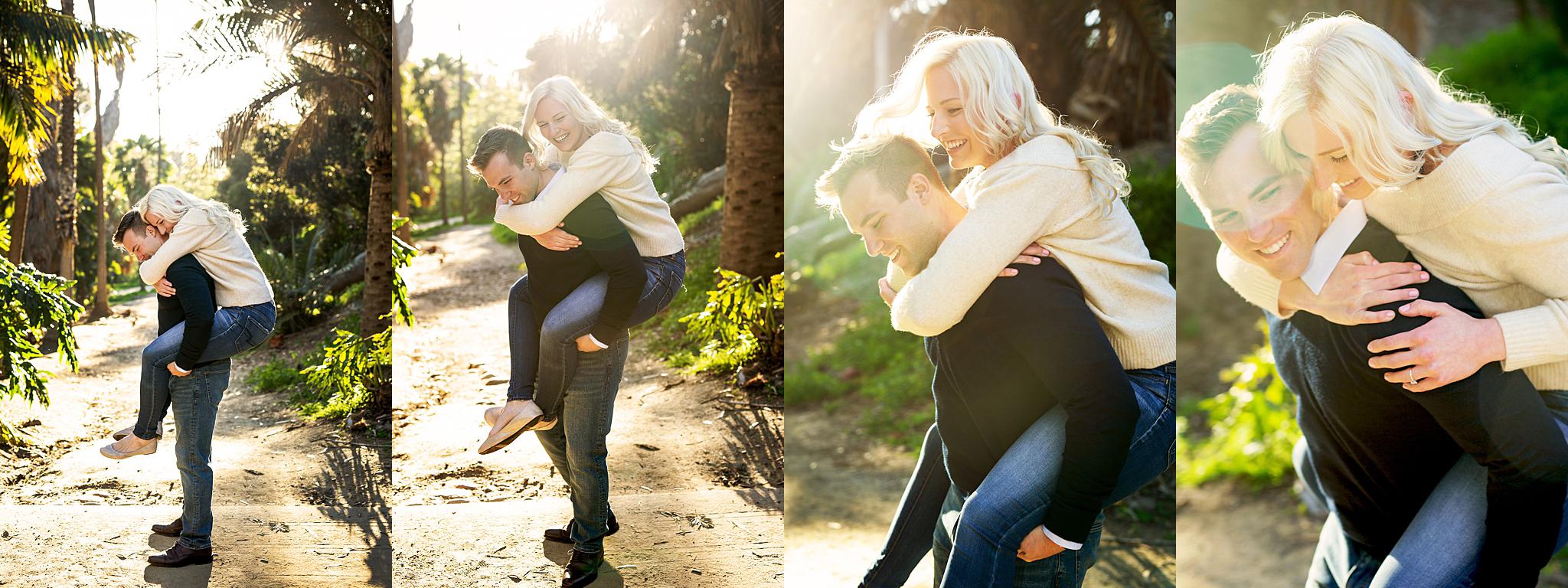 Cora enjoys a piggyback ride from Zach in Balboa Park's Palm Court.