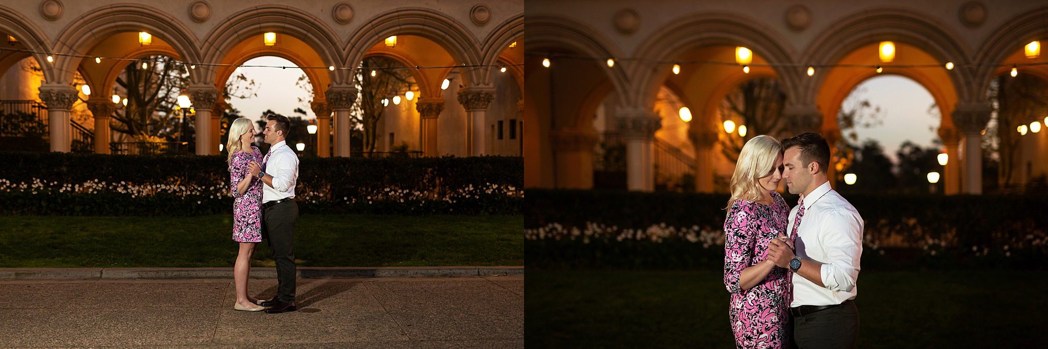 Zach and Cora share a dance as the sun goes down. Balboa Park Engagement Session, San Diego California