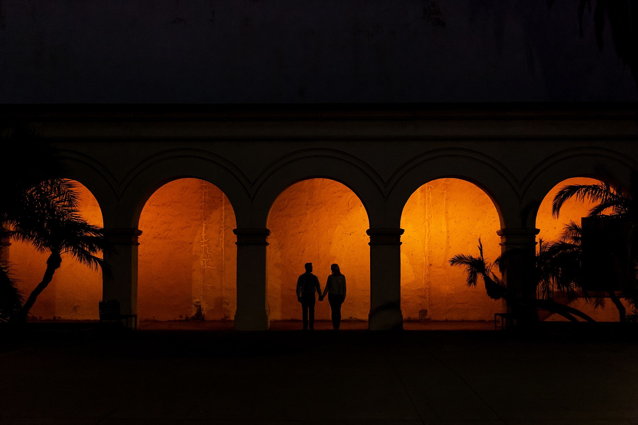 Balboa Park Engagement Session, San Diego California. Silhouettes.