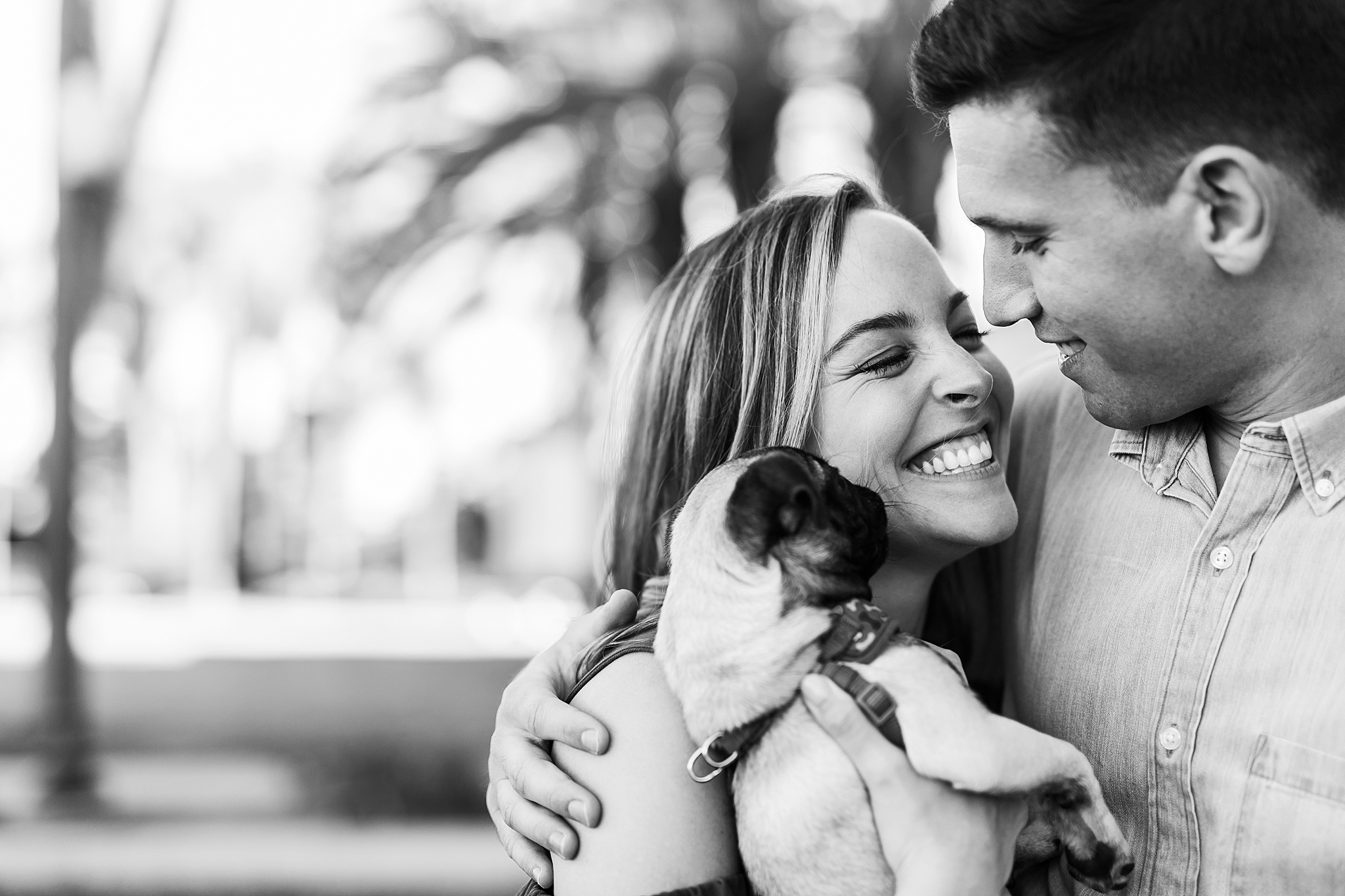 "Golden hour engagement session at Balboa Park, San Diego, California. Couple poses with their pug, Frankenstein aka ""Frankie""."""