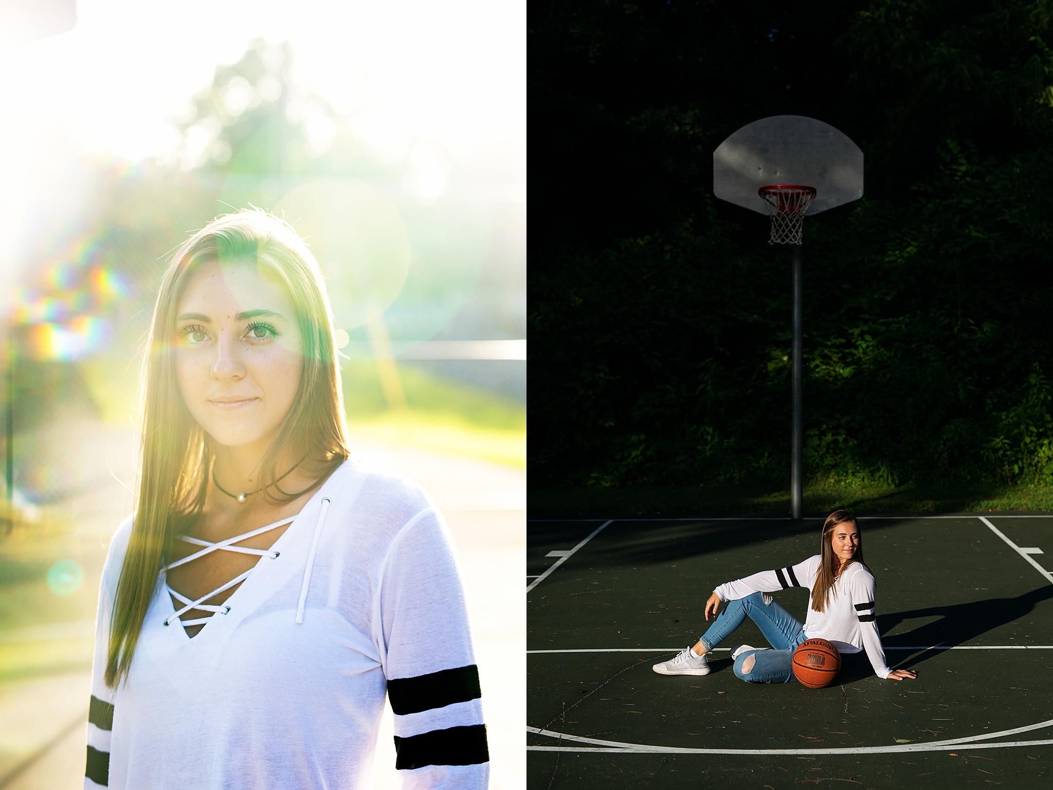 Maggie, Homer Center High School, Senior Session at Basketball court in Homer City