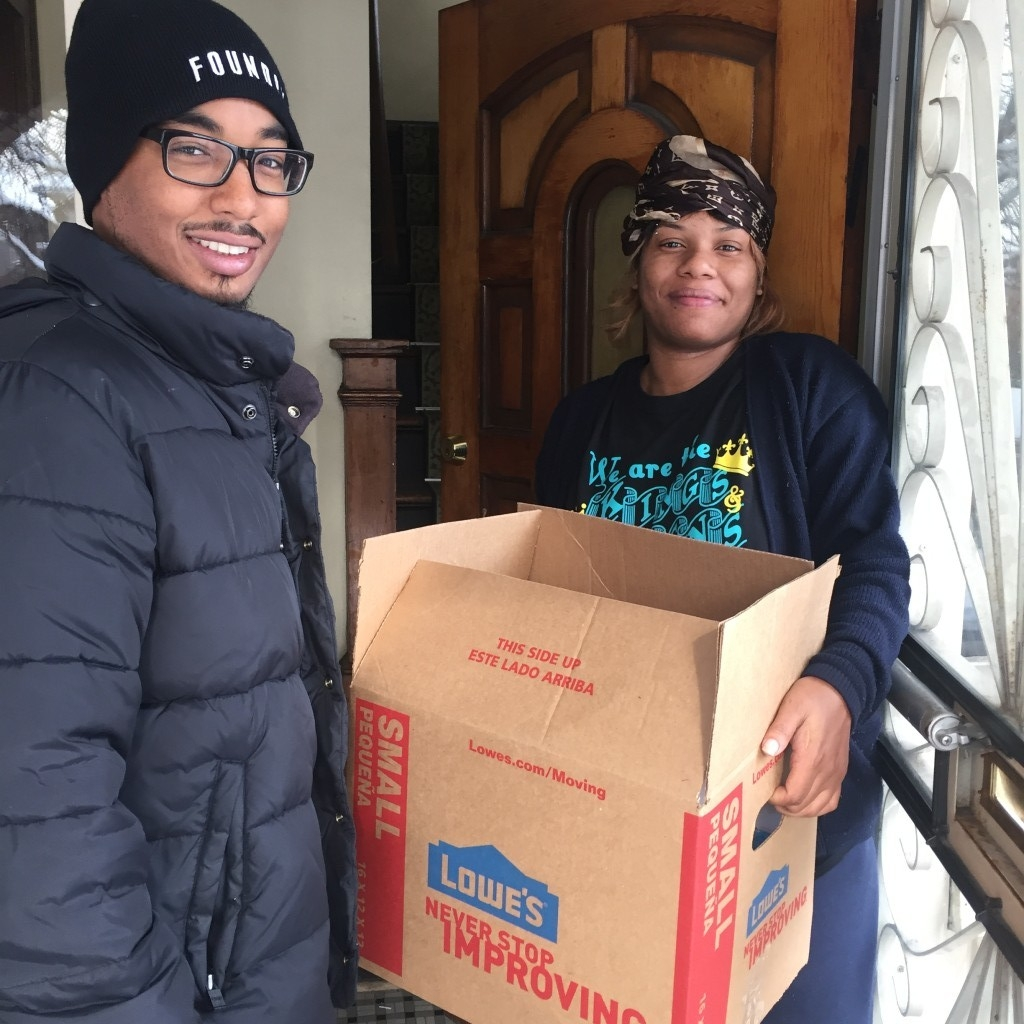 - Marseille Arbuckle, Jr. handing out turkeys on the 15000 block of Indiana St.