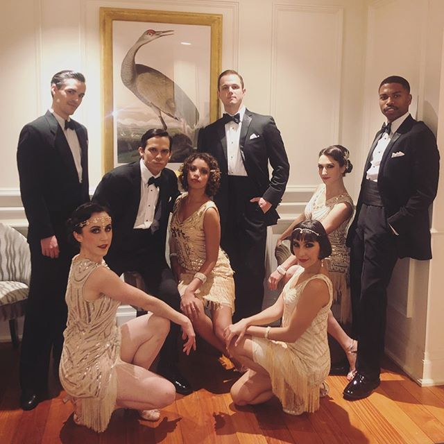 What an honor to put together this dream team! ✨ It was a pleasure choreographing an eight-person 1920's routine and performing alongside these stellar performers thanks to @plumecostumes! Thanks to Erin for our wardrobe, @vinspireme on hair, and @myvintageloveblog on make-up for making us look and *feel* so fantastic! Now if this could be our every Saturday night. 🤩  #theplaza #giglife #1920s #charleston #animaldances #ballroom #swingdance #solojazz #choreographers #dancers #dancepartners #lifepartners @msaagency #msafam