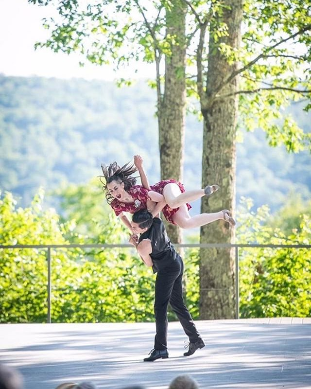 We're flying to Germany today with the @vanavercaravan! We love this shot by @cduggandancephotos from our performance with the Caravan at @jacobspillow last week. We look forward to sharing the company's Pete Seeger tribute at @rudolstadt_festival_official!  #turnturnturn #peteseeger #vanavercaravan #jacobspillow #rudolstadt #lindyhop #swingdance #aerial #airstep #aroundtheback #christopherduggan @samanthallawton
