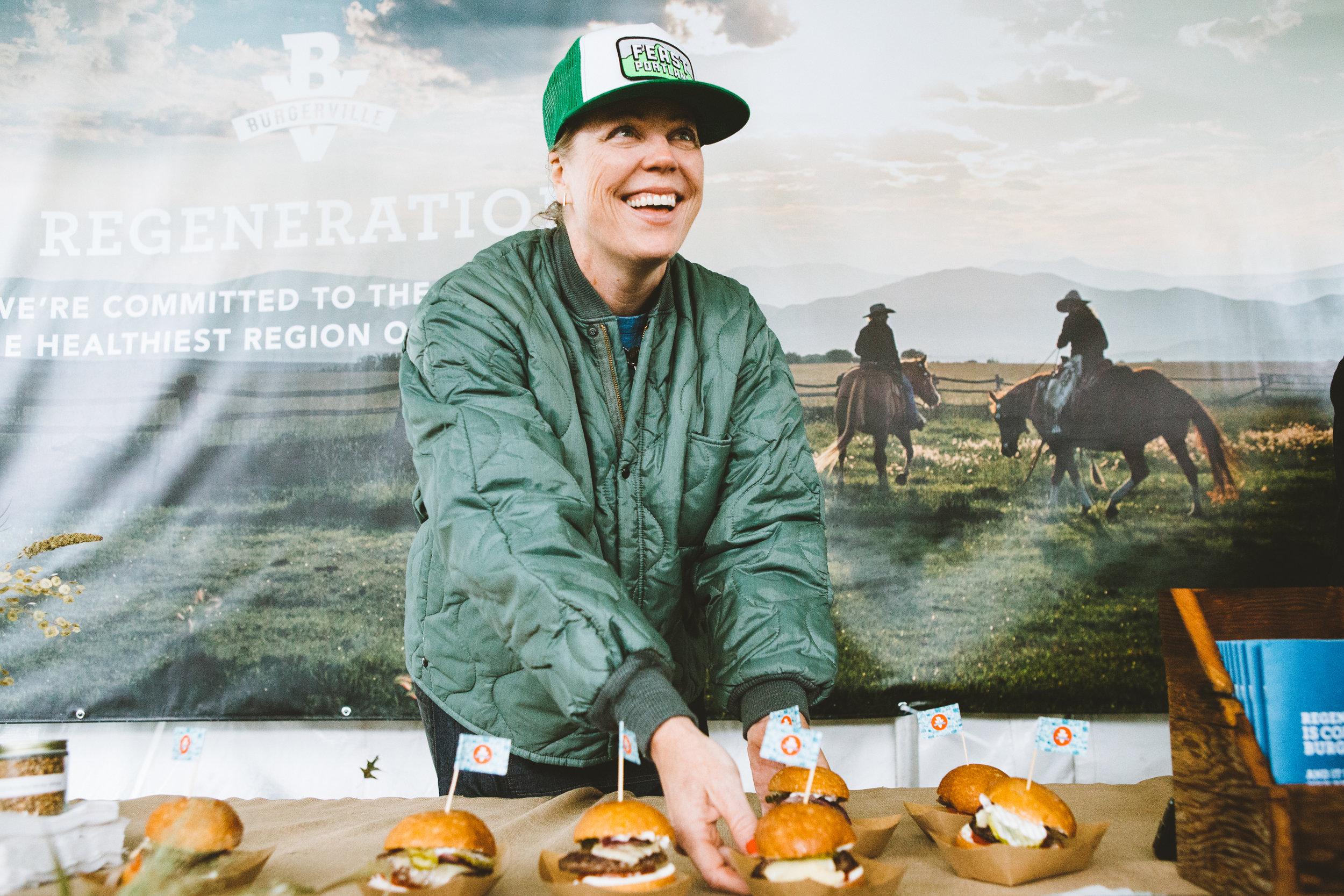 NWS Proprietress Michelle Battista slinging burgers at The Big Feast
