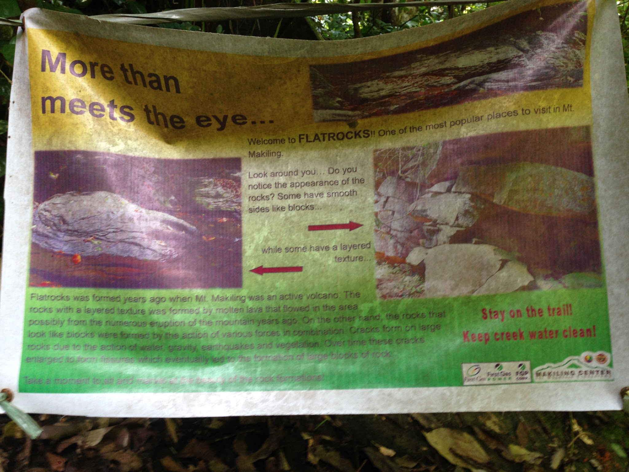 You'll know you are in the right place when you see this poster explaining how Flat Rocks was formed