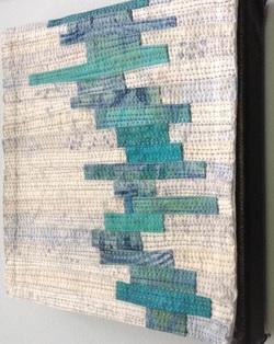 "Musings #1 6""x6"" - cotton, dye, thread"