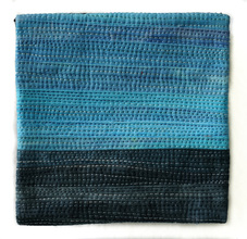 "Musings #18 - 4""x4"" cotton, dye, thread, mounted on gallery wrapped canvas"