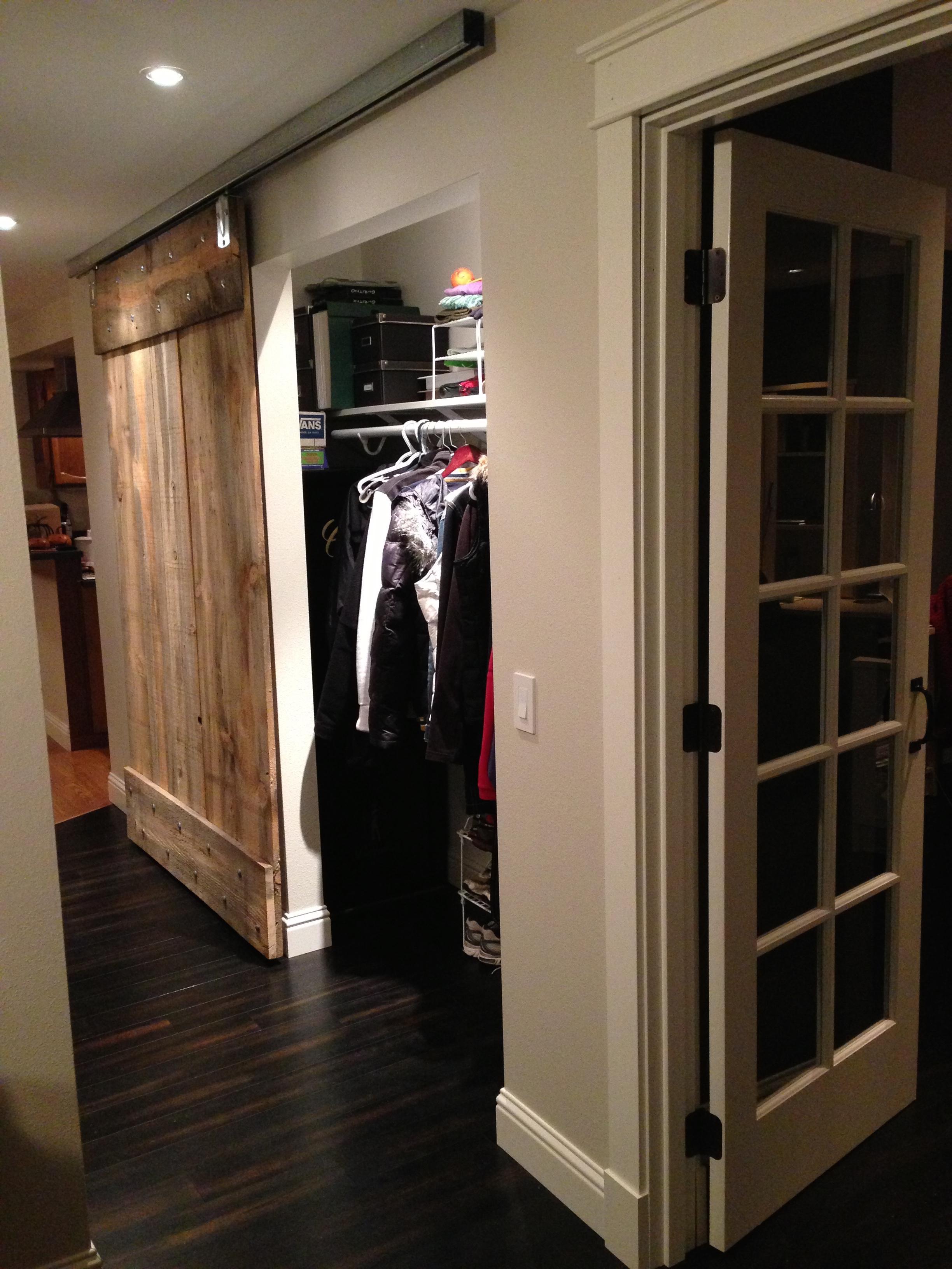 Coat closet barn door