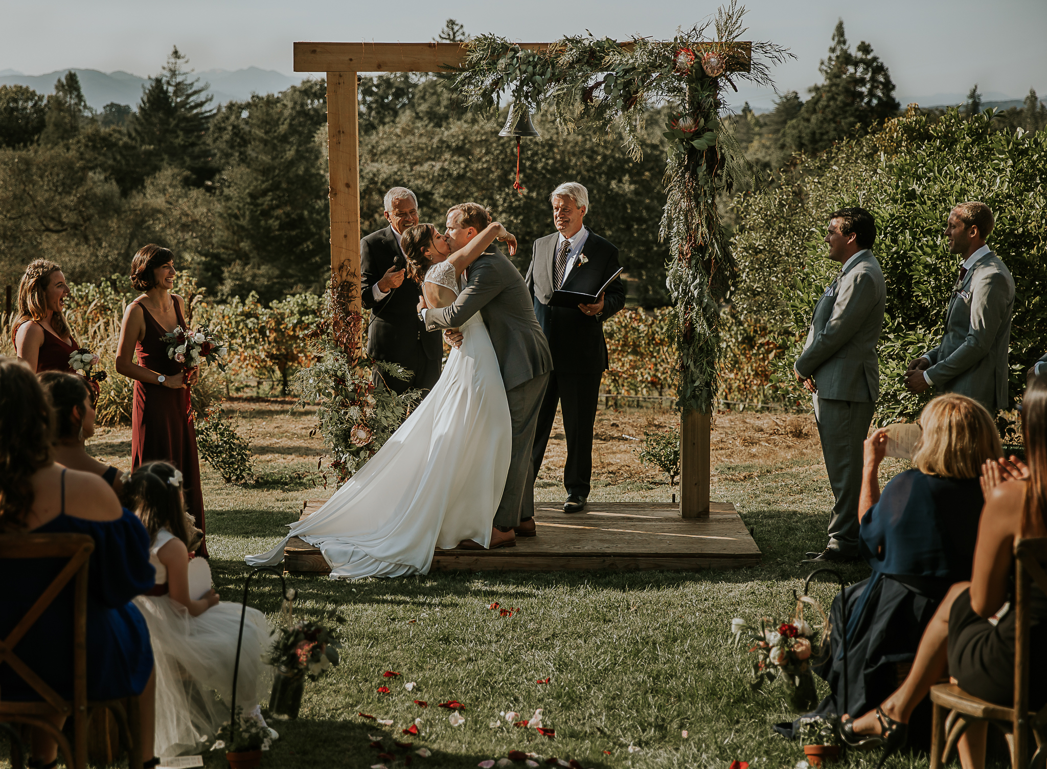 First kiss napa backyard wedding
