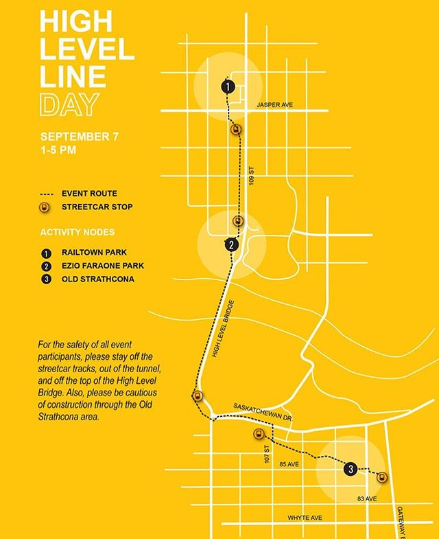 THIS SATURDAY!  #HighLevelLine Day - Sept 7, 1-5pm.  It's a grassroots activation of the underutilized corridor that connects Old Strathcona and Downtown. Thanks to the #yeg community for coming together to bring the line to life. Details at link in bio. Can't wait! #oldstrathcona #yegdt #yeglove #yegevents