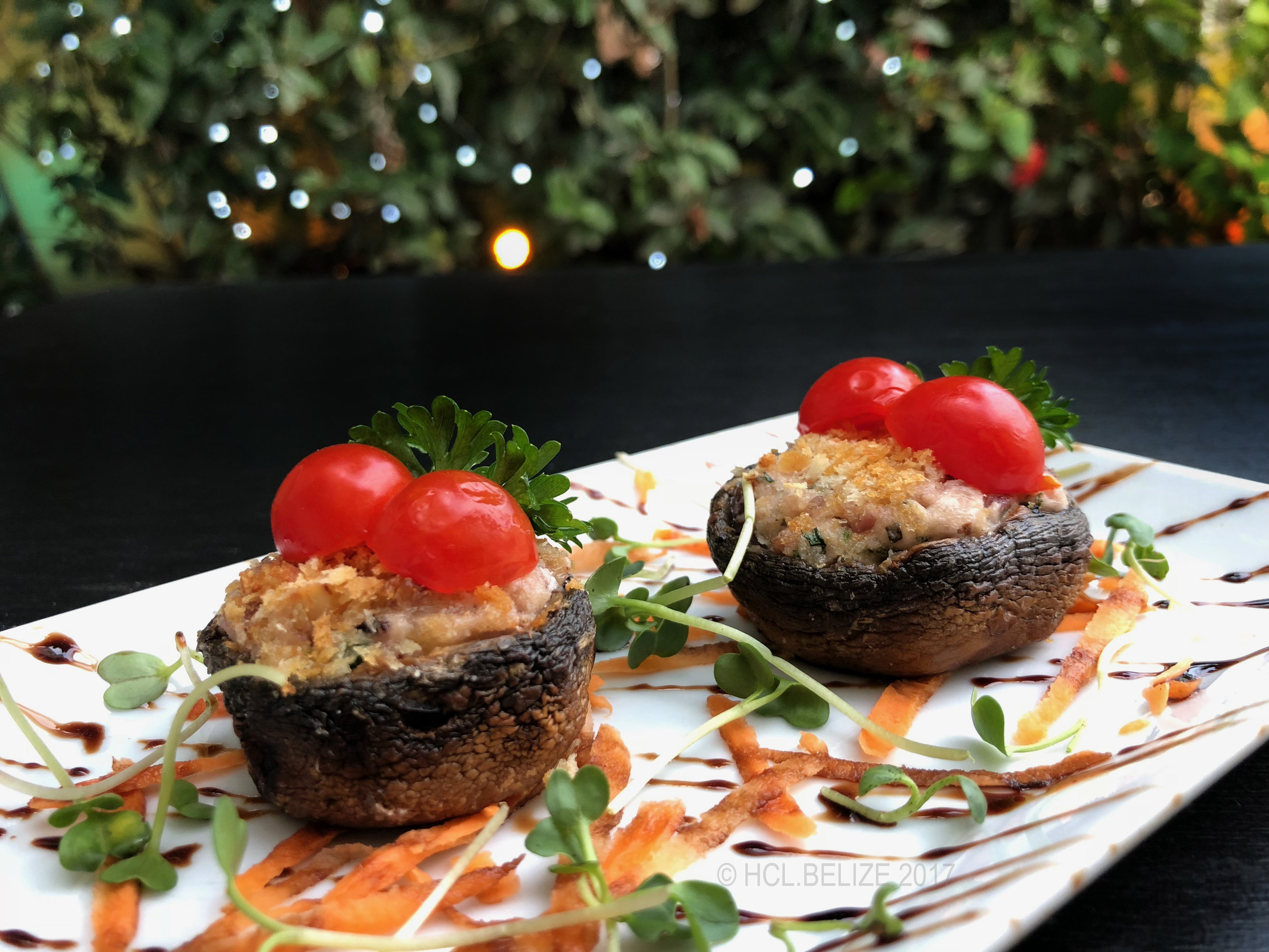 1st Course - Stuffed Mushrooms - Oven roasted bacon stuffed button mushrooms with shallots, walnuts, rosemary, and parsley