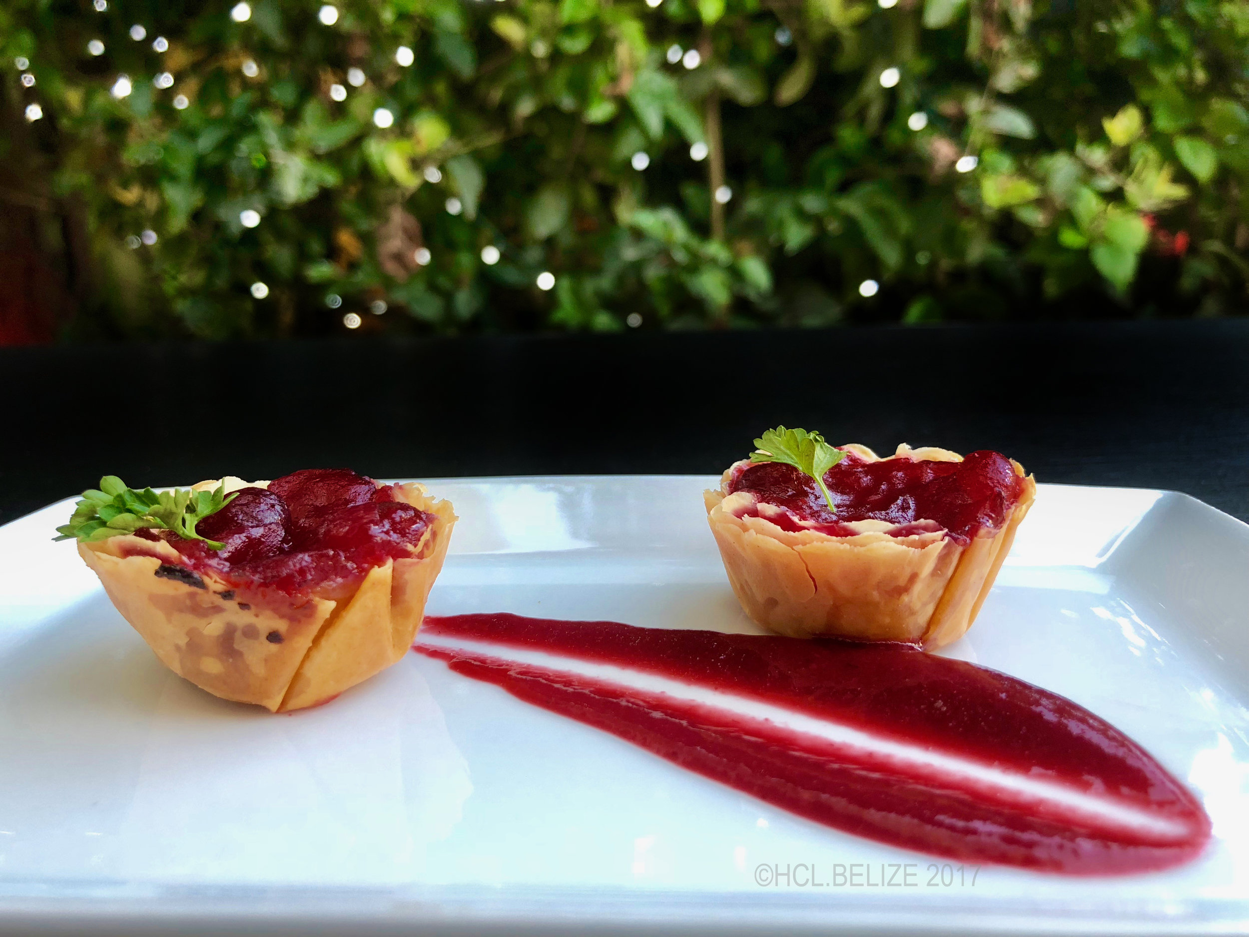 1st Course - Baked Brie with Cranberry - Brie cheese with housemade cranberry jam, baked in a flaky phyllo dough