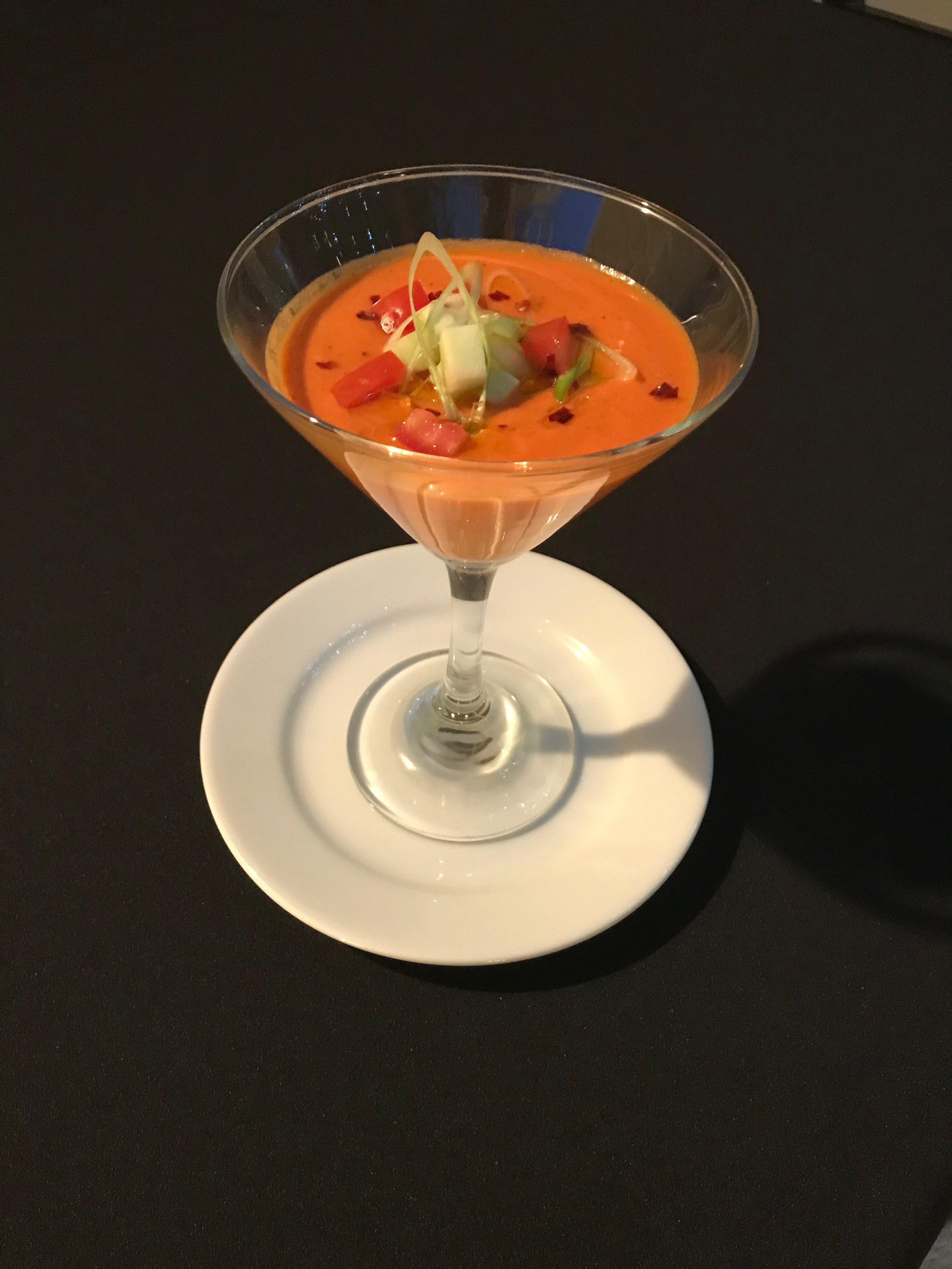 """""""Not Your Traditional"""" Gazpacho - Roasted tomato gazpacho with a drizzle of Spanish olive oil"""