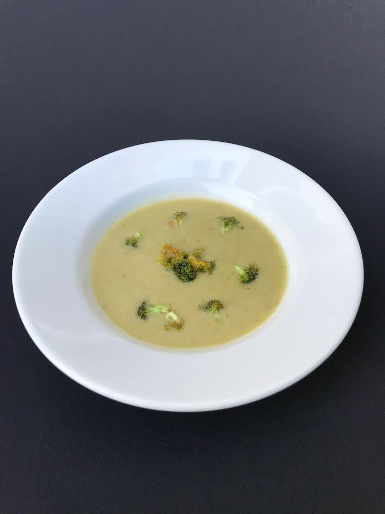 - Fava Bean & Broccoli Soup Creamy pureed fava beans with potato, broccoli, and chicken stock, topped with fried broccoli florets