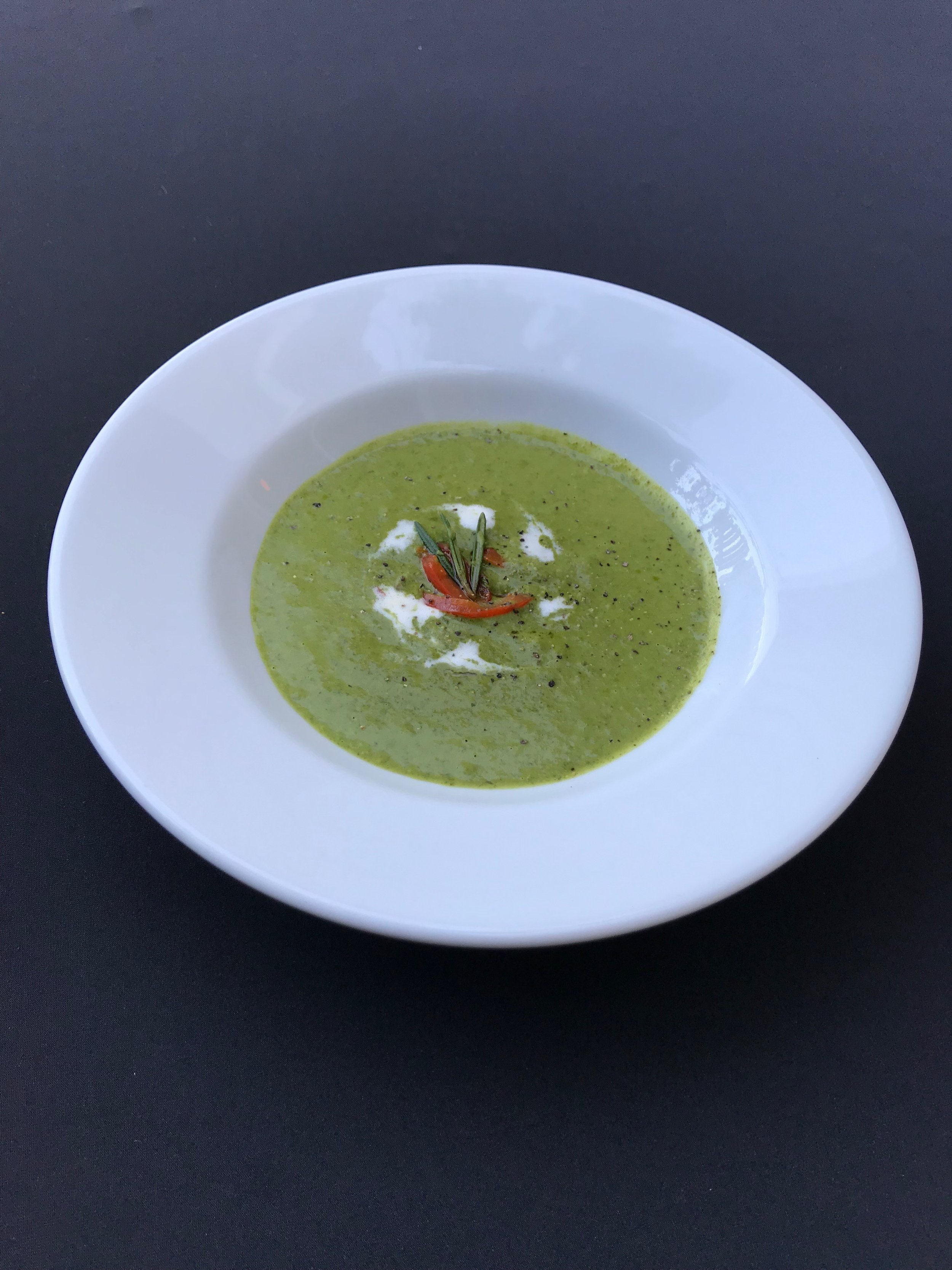 - Spinach & Rosemary SoupCreamy pureed soup with potato, chicken stock, onion, and rosemary, topped with creme fraiche