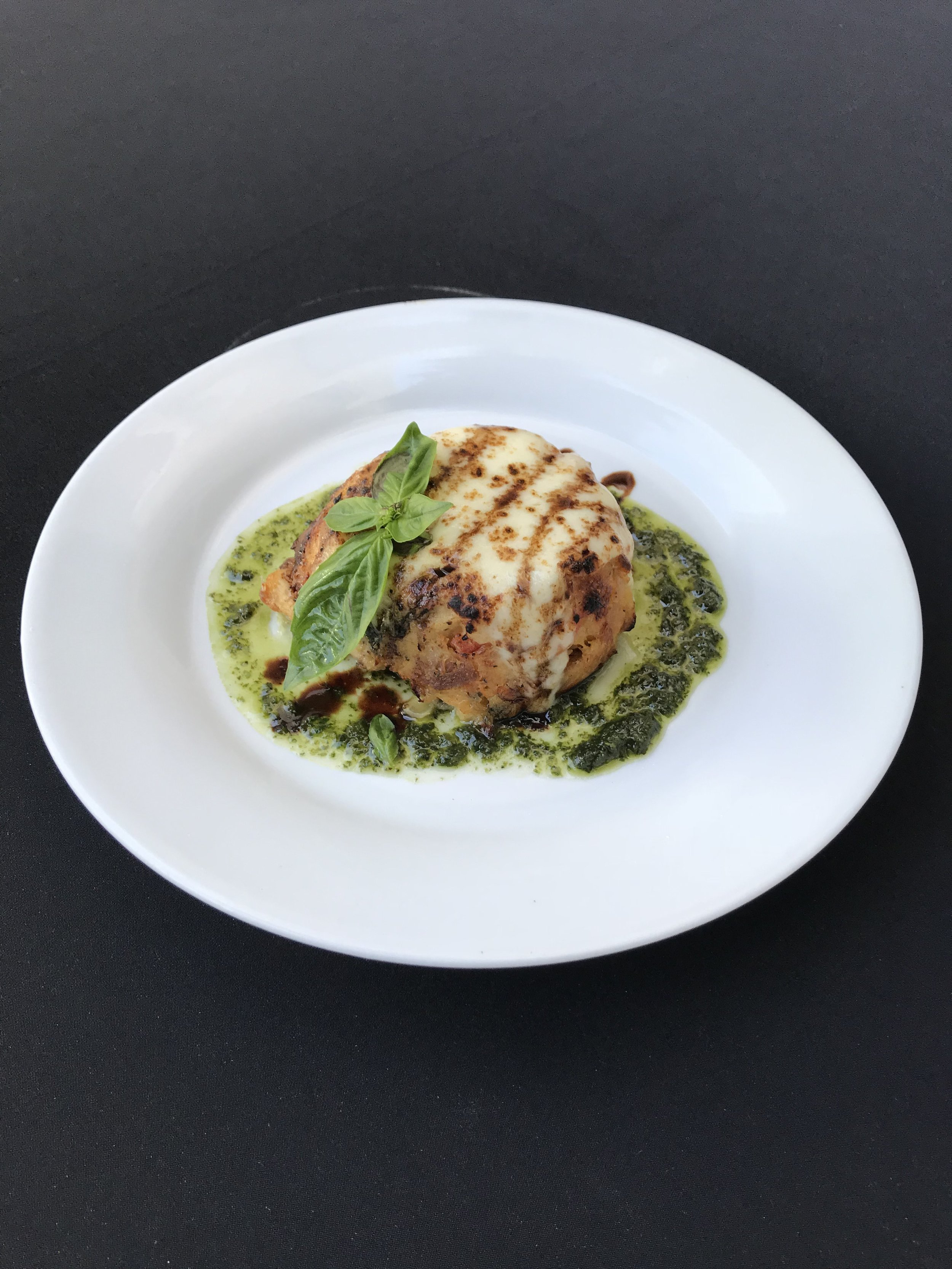 - Tomato Basil PuddingSavory bread pudding with shallot, leek, spinach, and basil, topped with melted mozzarella cheese