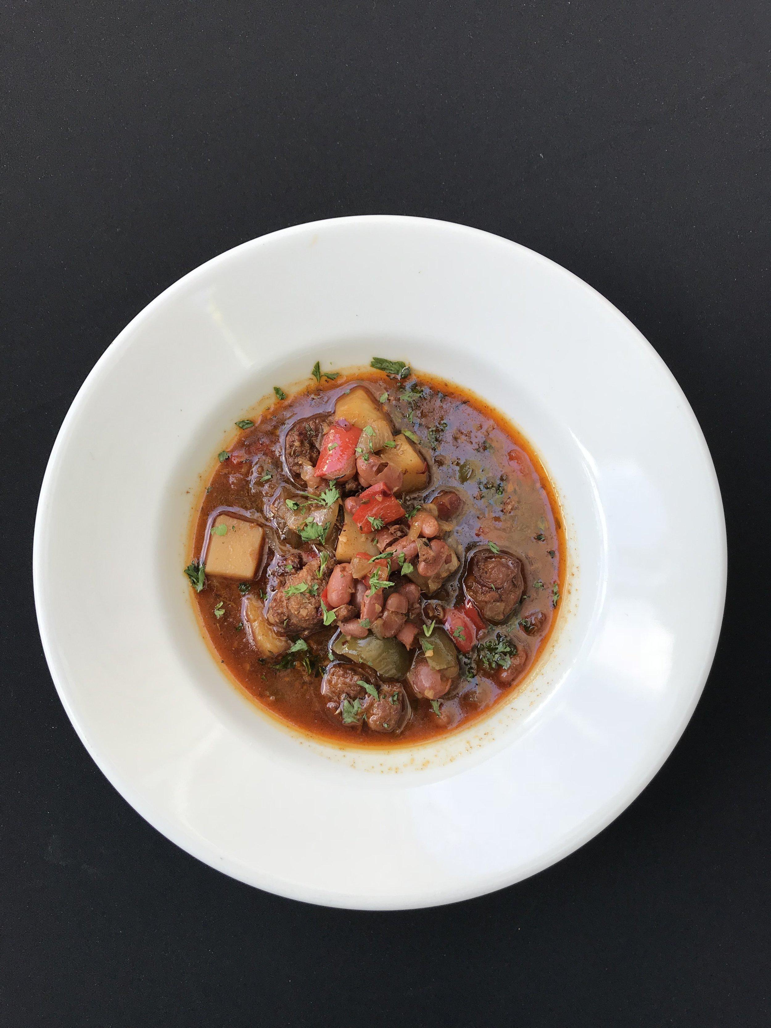 - Sopa de Chorizo A Spanish style soup made with carrot, potato, chorizo, onion, paprika, chicken stock, and parsley
