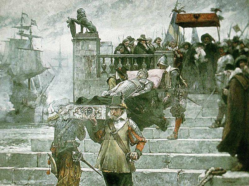 Carl Gustaf Hellqvist, Gustav II Adolfs lik inskeppas i Wolgasts Hamn 1633, 1885, Stockolms Slott