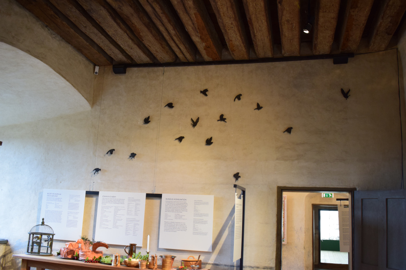 """part of the castle kitchen; birds are """"flying away"""" from the recipe for Johan III favourite pate"""