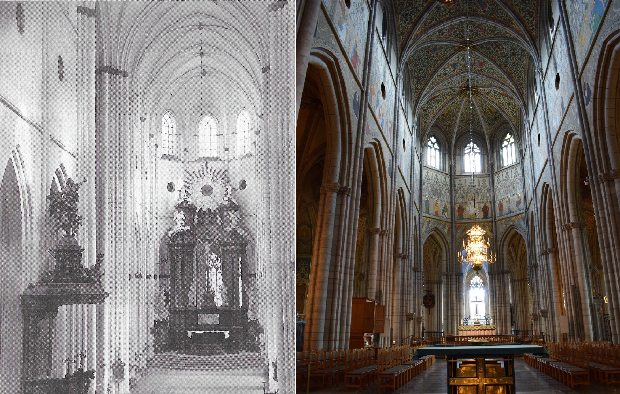 baroque altar (photo from 1873) and present altar (photo 2017)