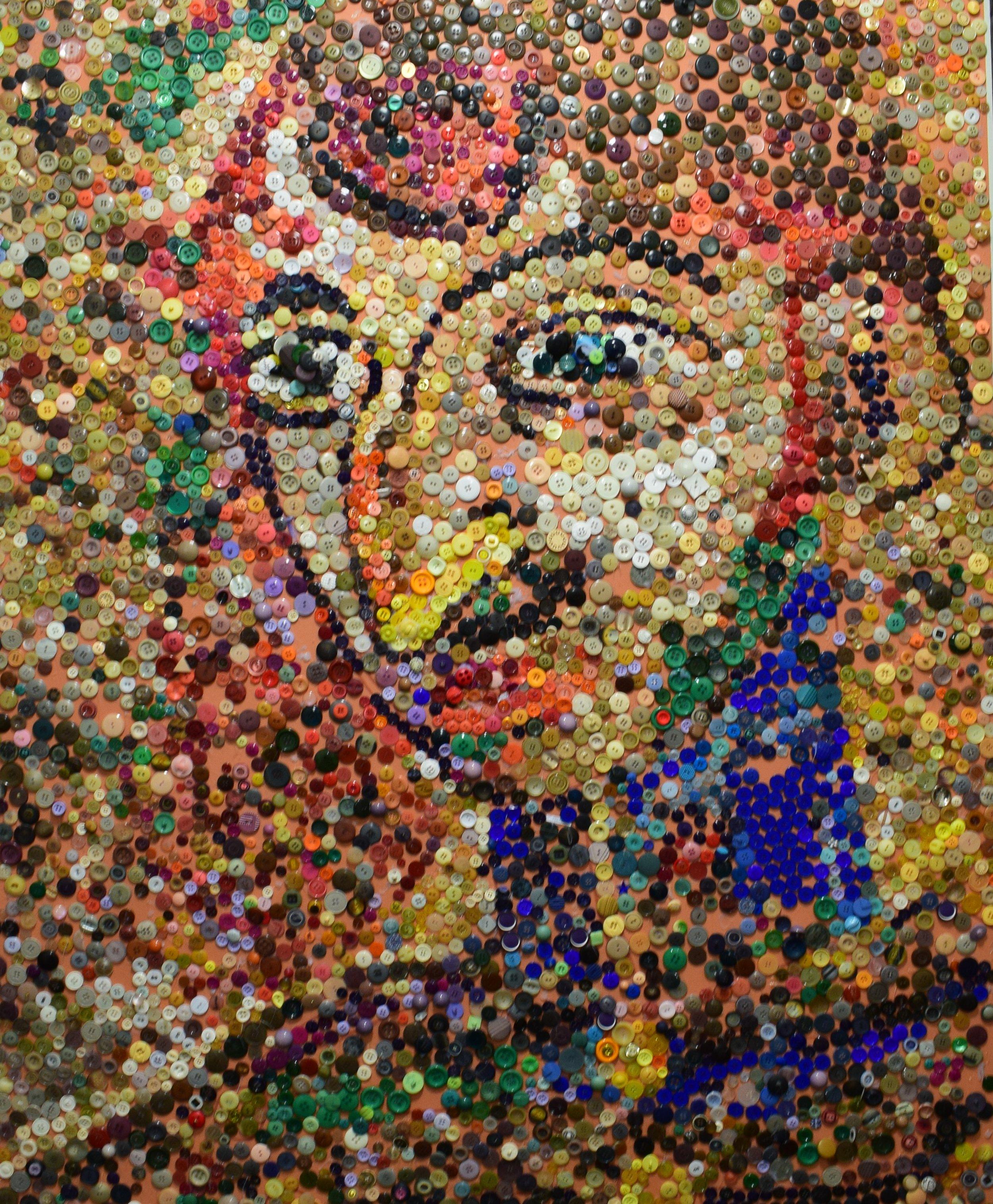 Issac Grünewald, Självporträtt i knappversion (Selfportrait made of buttons)