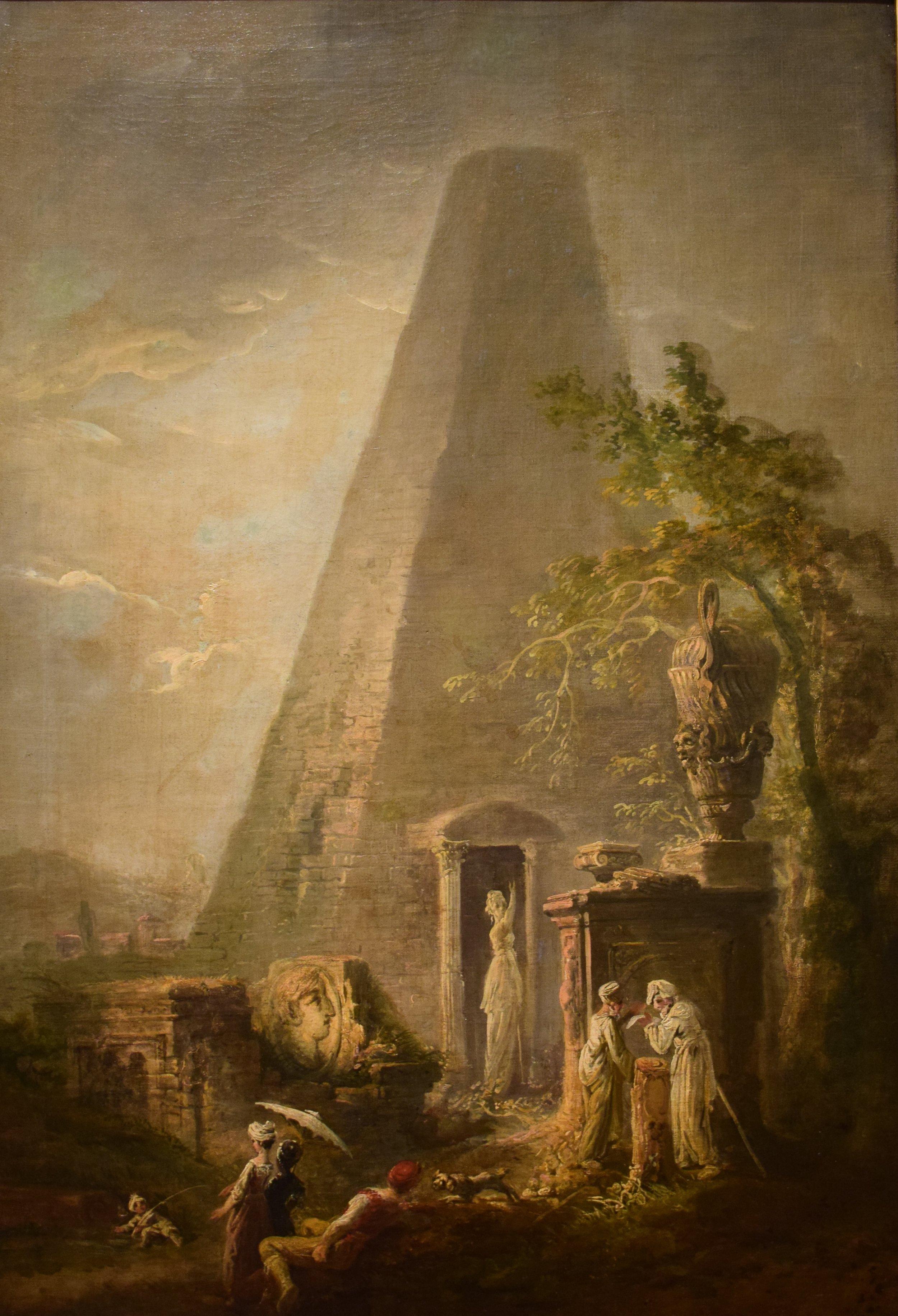 Elias Martin, Landskap med pyramid och figurer (Landscape with Pyramid and Figures)