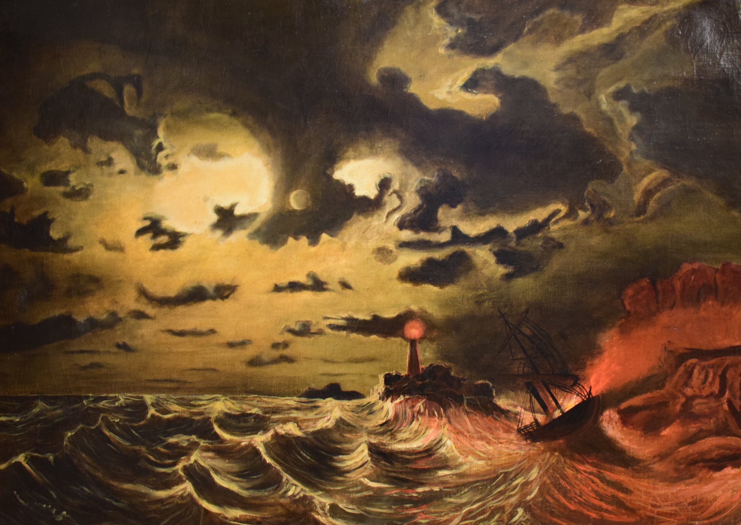 Marcus Larson, Steamer in Flames, 1850s, Göteborgs konstmuseum