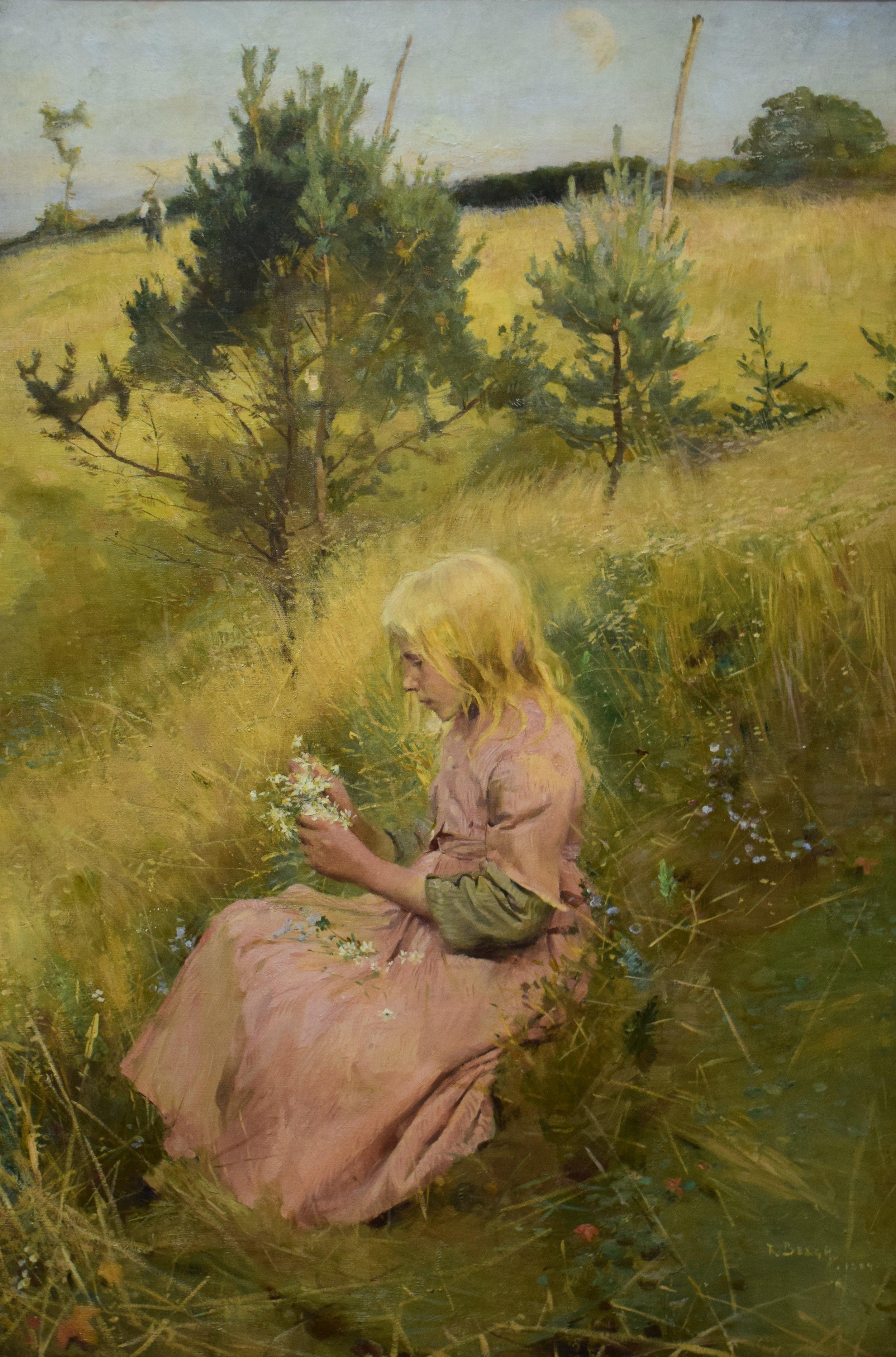 Richard Bergh, Blomsterplockerska (Girl picking flowers), 1884