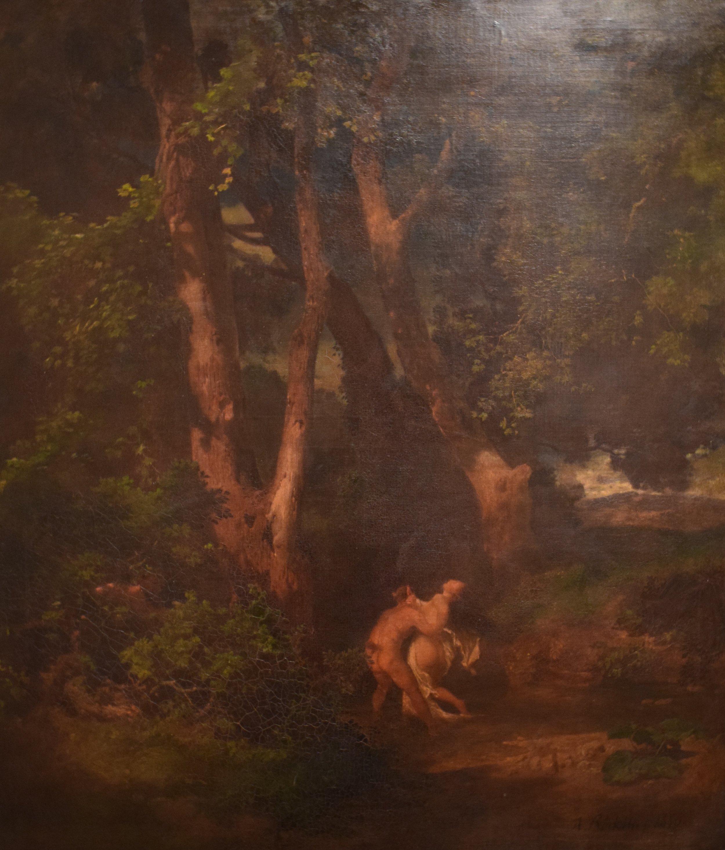 Arnold Böcklin (Swiss), Skoglandskap, faun och nymf (Forest Landscape, Faun och Nymph), 1856