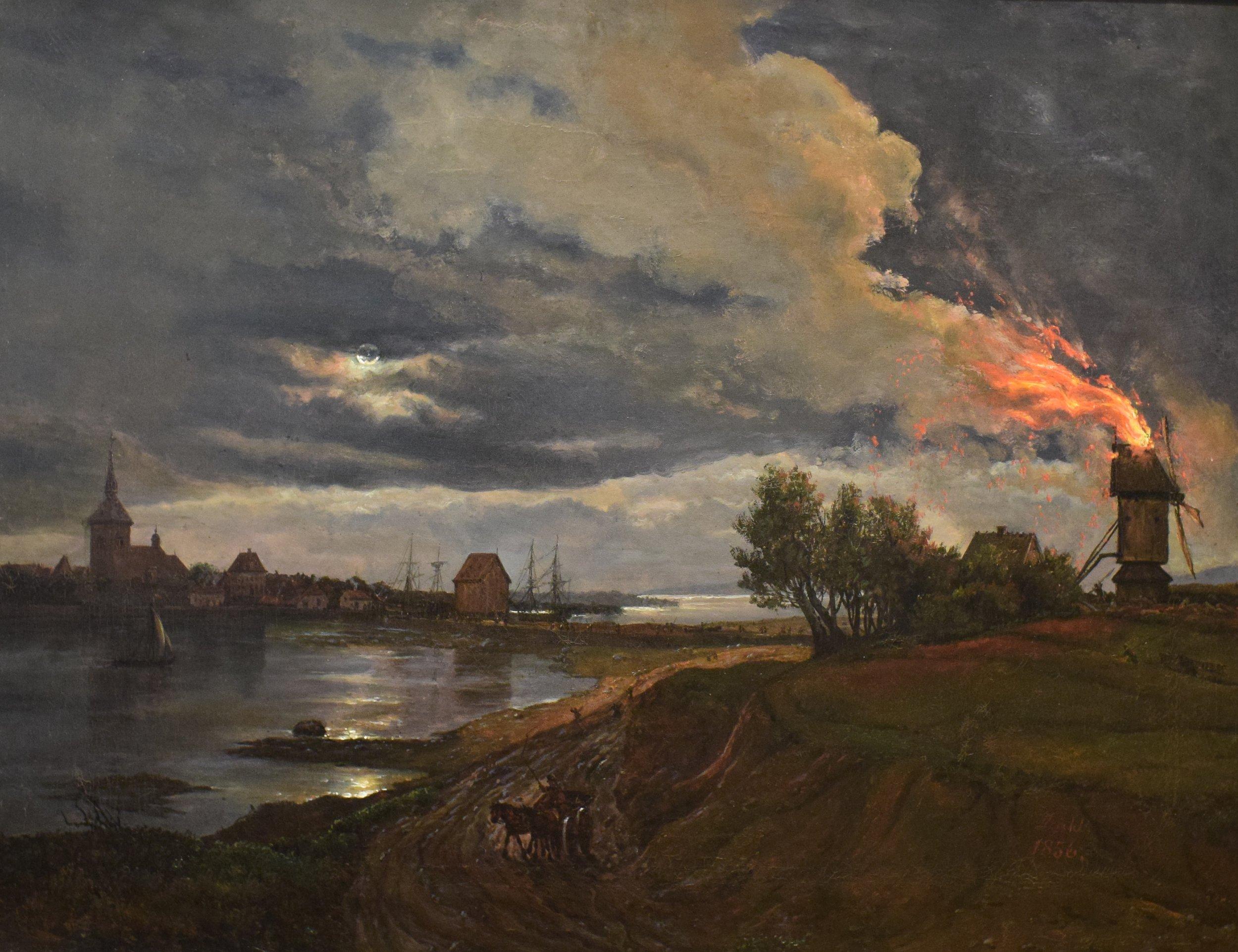 Johan Christian Dahl, Burning Windmill at Stege, 1856, Nasjonalmuseet
