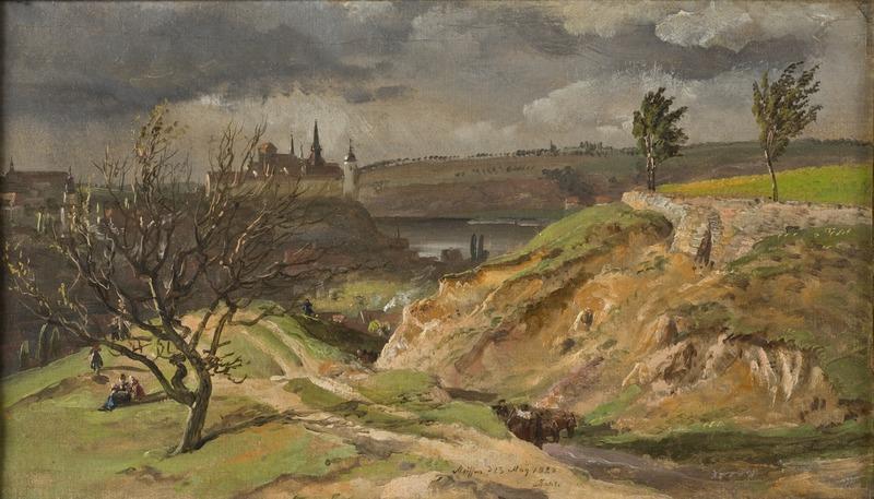 Johan Christian Dahl, View of Meissen. Study, 1828, Nationalmuseum