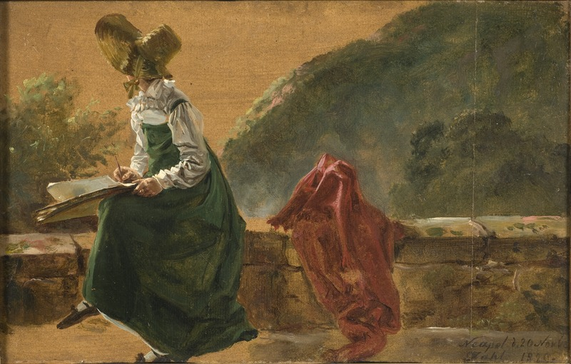 Johan Christian Dahl, Princess Caroline Amalie Sketching in Naples. Study, 1820, Nationalmuseum