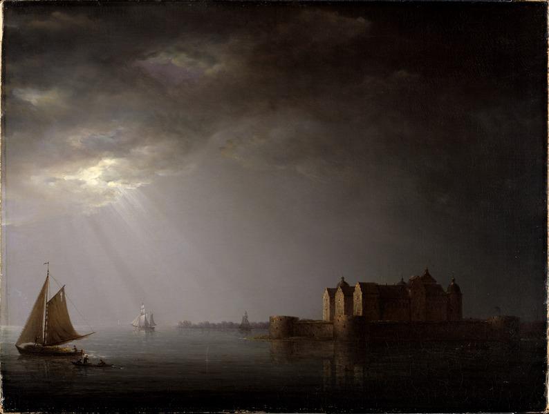 Carl Johan Fahlcrantz, Kalmar Castle by Moonlight, 1835, Nationalmuseum,