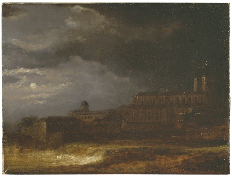 Carl Johan Fahlcrantz, View of Uppsala. Landscape by Moonlight, 1820, Nationalmuseum