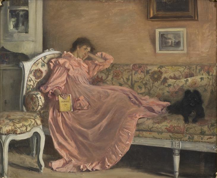 Gustaf Cederström, Carola Sitting on the Sofa, 1899, Nationalmuseum