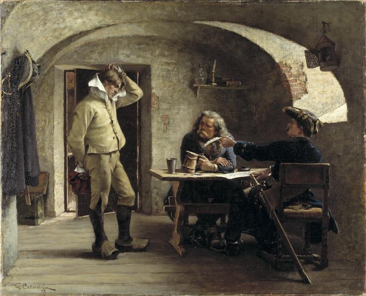 Gustaf Cederström, Recruiting Sergeants, 1879, Nationalmuseum