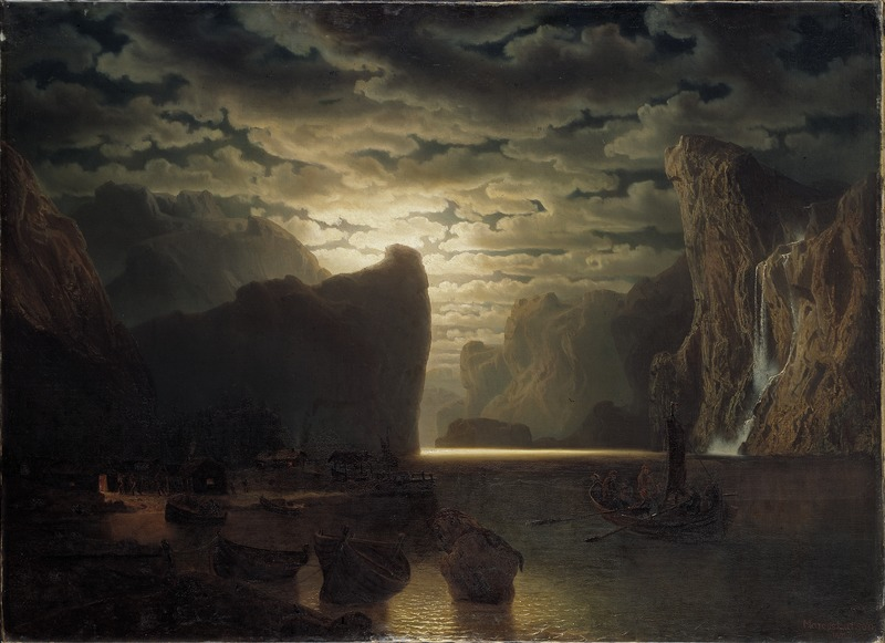 Marcus Larson, Norwegian Fjord in Moonlight. Motif from the Sogne-Fjord, 1861, Nationalmuseum