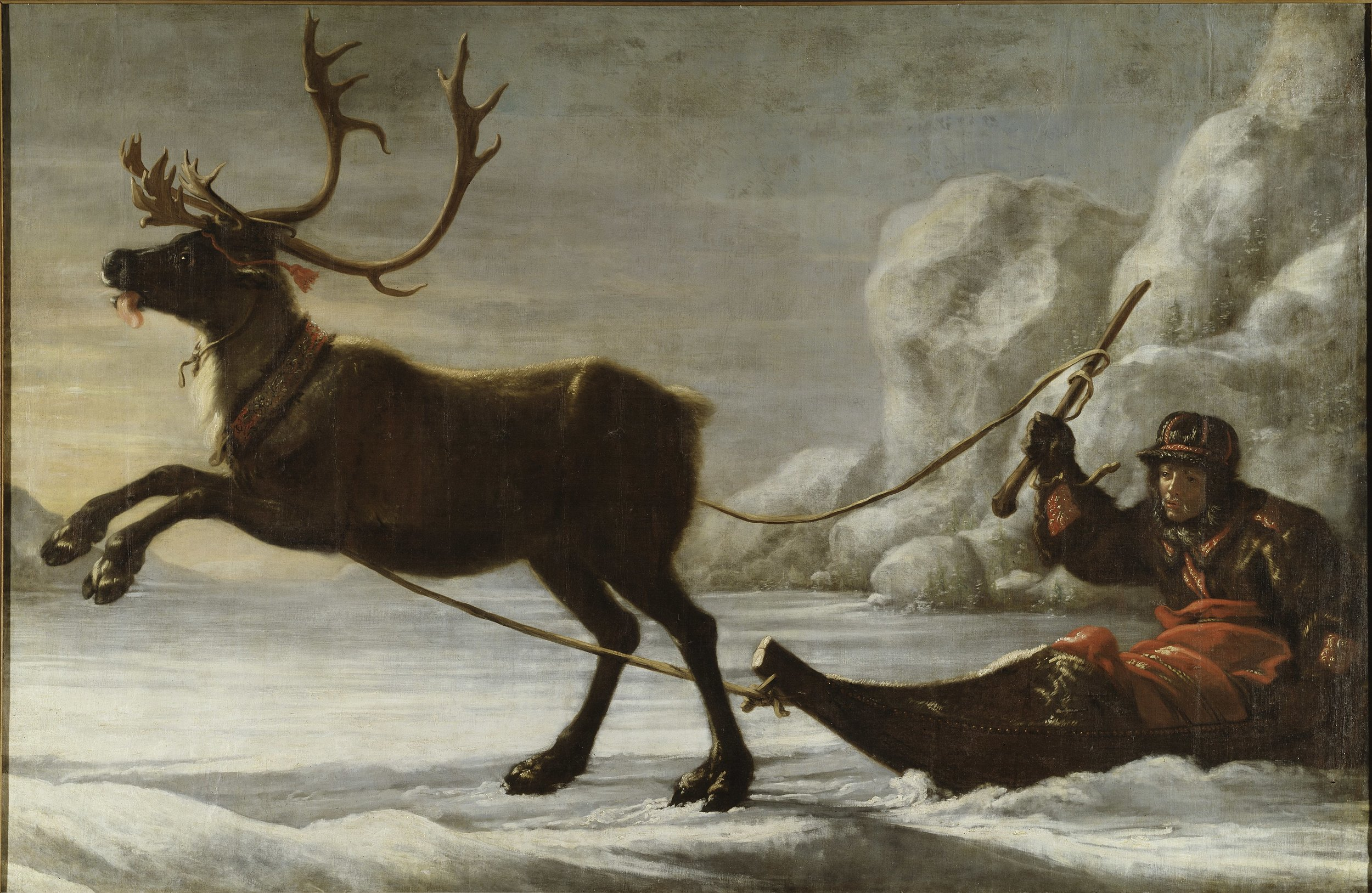 David Klöcker Ehrenstrahl, Reindeer with a sledge, 1671, Nationalmuseum.jpg