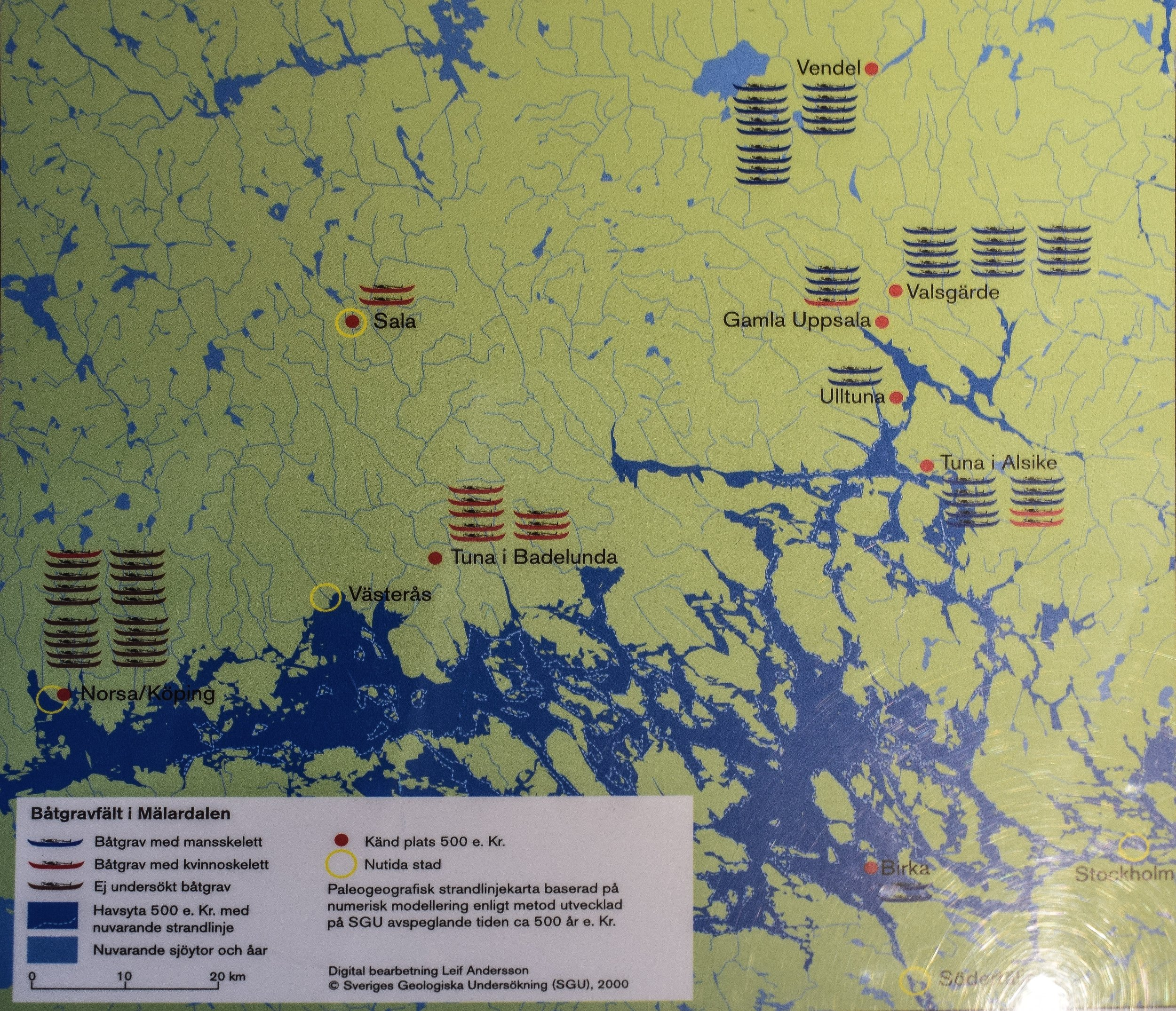 Map of boat graves, Gamla Uppsala Museum
