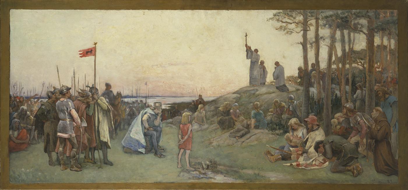 Gustaf Cederström, Ansgar förkunnar kristendomen. Andra förslaget till väggmålning i Nationalmuseums övre trapphall