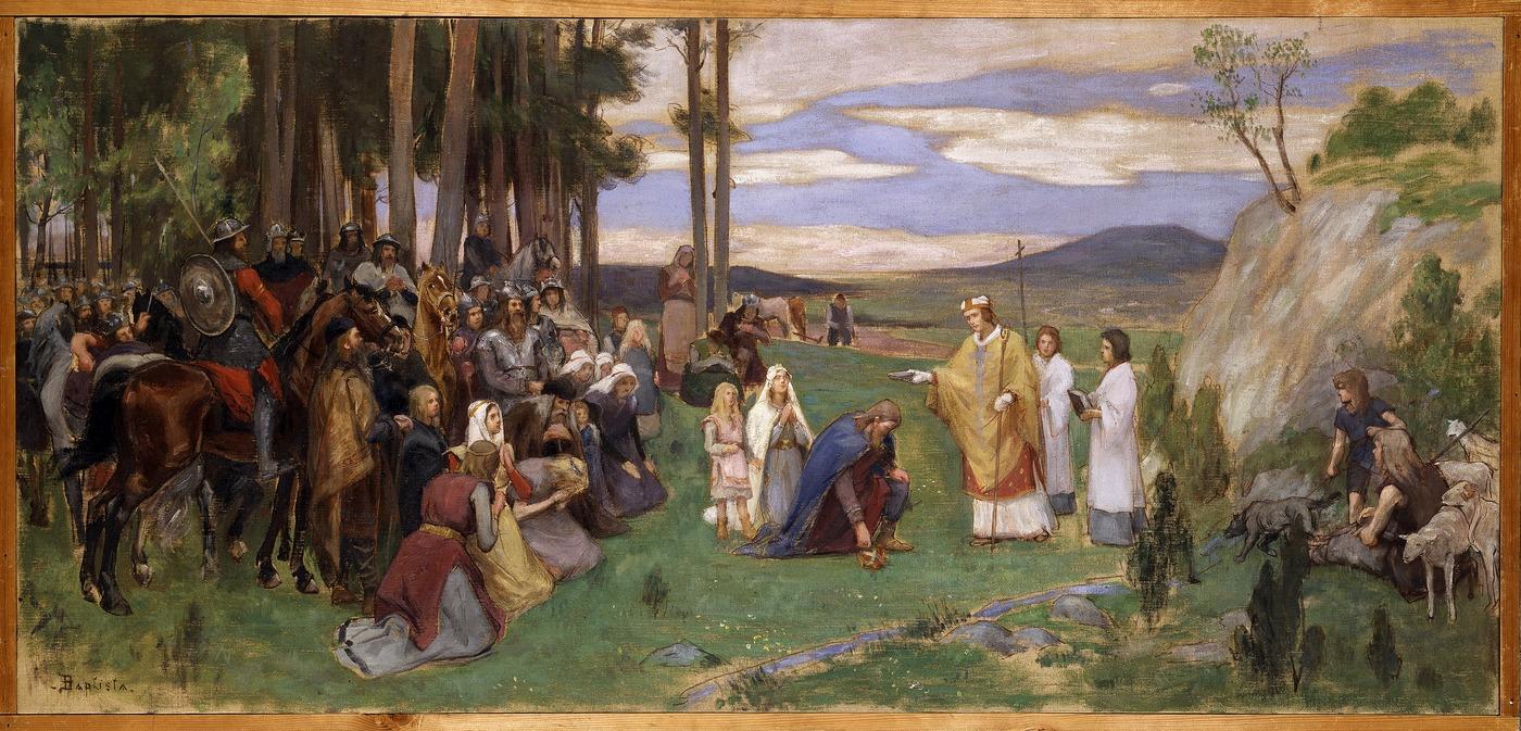 Georg Pauli, Förslag till väggmålning i NMs övre trapphall. Ansgar förkunnar kristendomen, Nationalmuseum