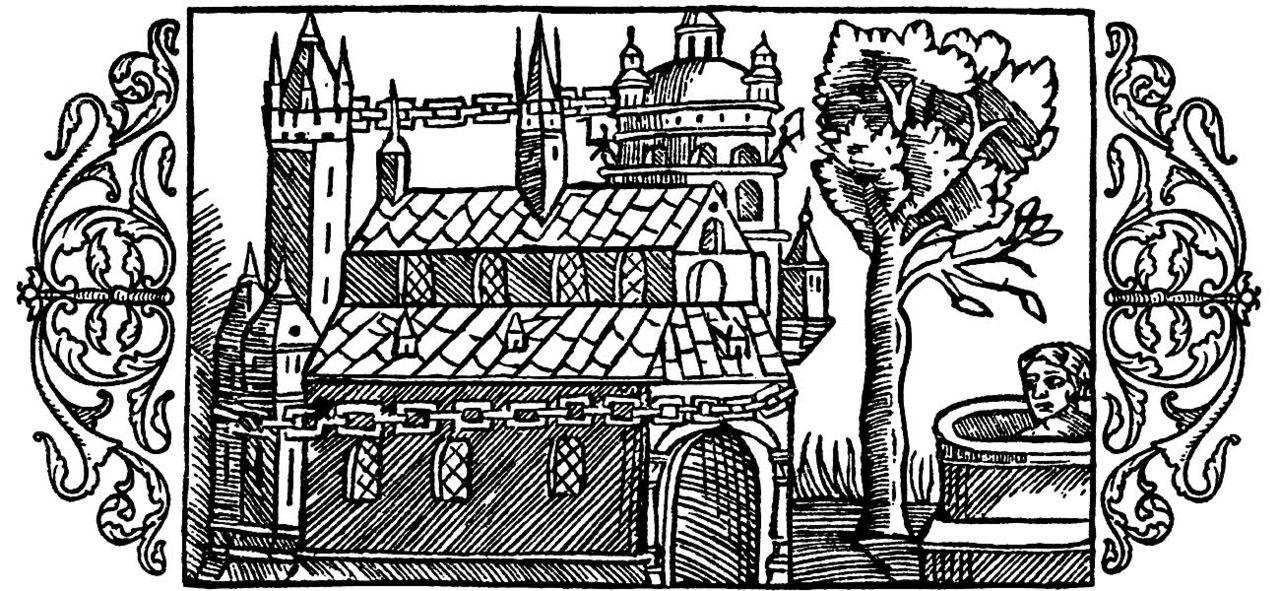 Uppsala Temple according to Adam of Bremen, drawing from Olaus Magnus's  Historia de Gentibus Septentrionalibus,  1555
