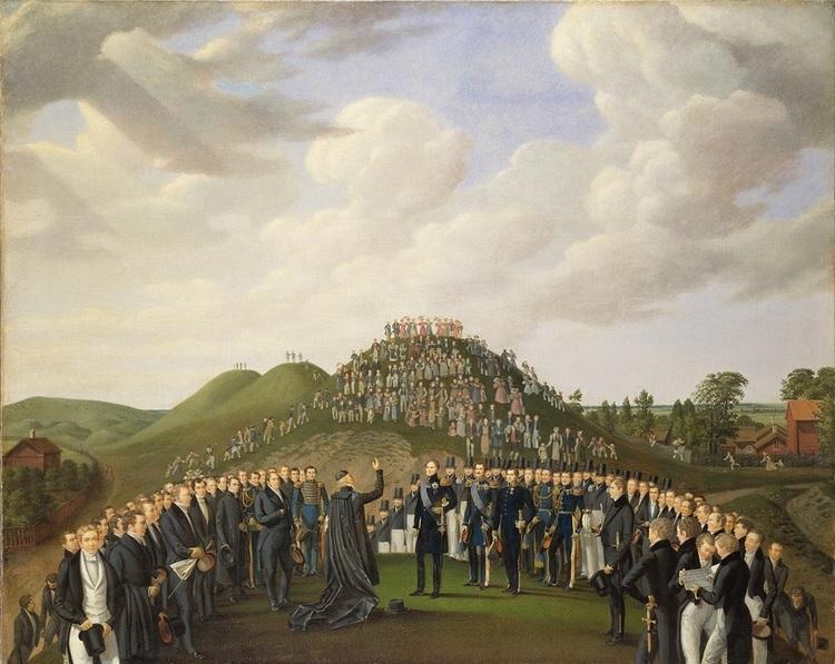 Johan Way, Karl XIV Johans besök vid Uppsala högar, 1834, Nationalmuseum, photographer: Erik Cornelius