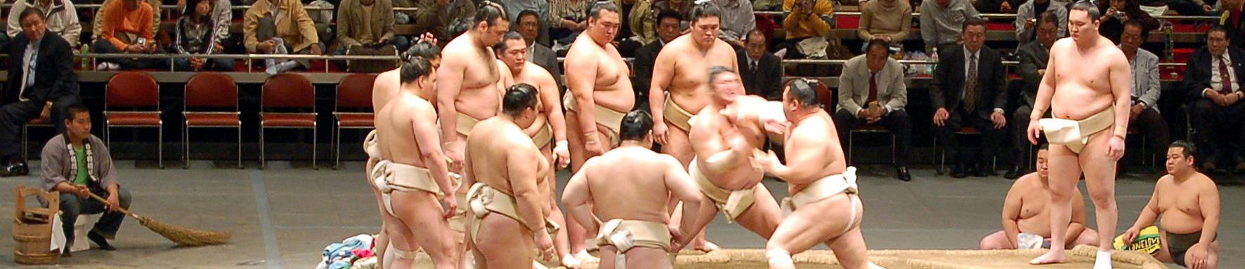 Сумо тренировка (Калоян Махлянов- Котоошу  е третият от ляво надясно) Снимка: Flicker/David Z.
