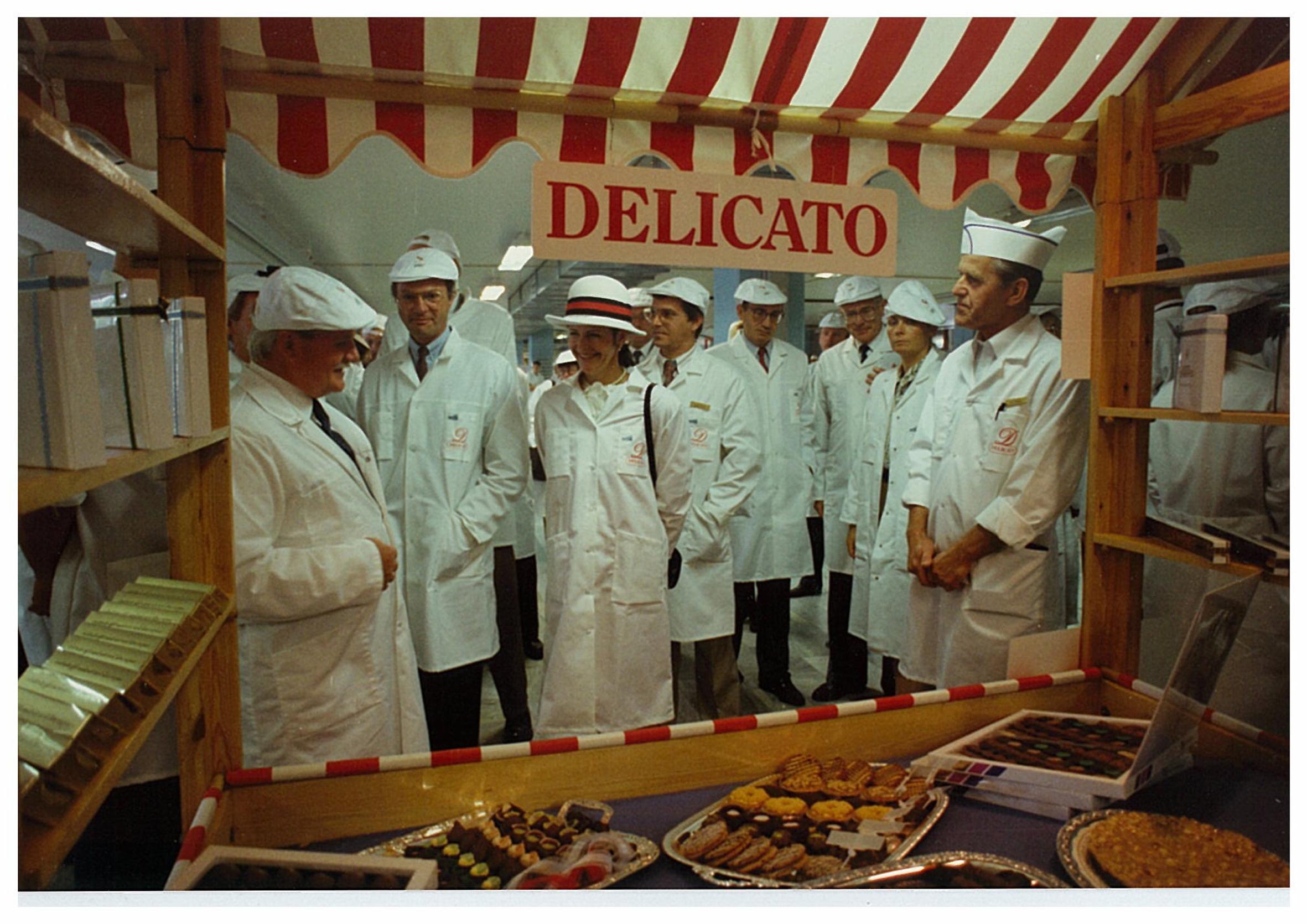 Kungabesök hos Delicato 1991 i samband med utmärkelsen som Kunglig Hovleverantör.