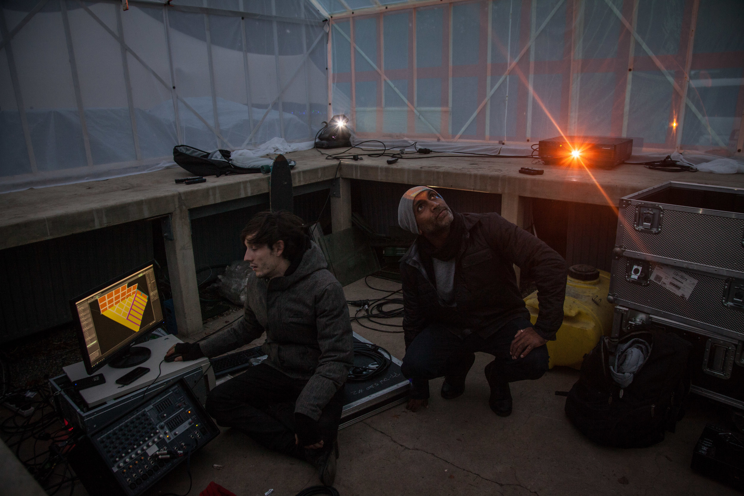 Samuel(Nocturnal) & Lakshman(Creature) video mapping the glass house - Photo Credit: Sophia Jenny