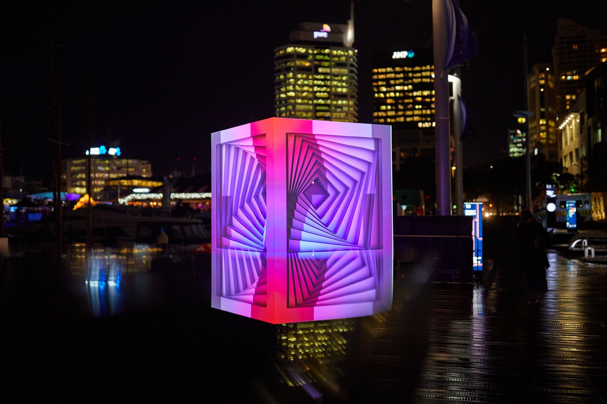 CUBEZOID in Auckland's Viaduct at Bright Nights 2018