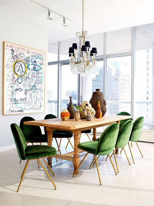 green velvet chairs at dining table