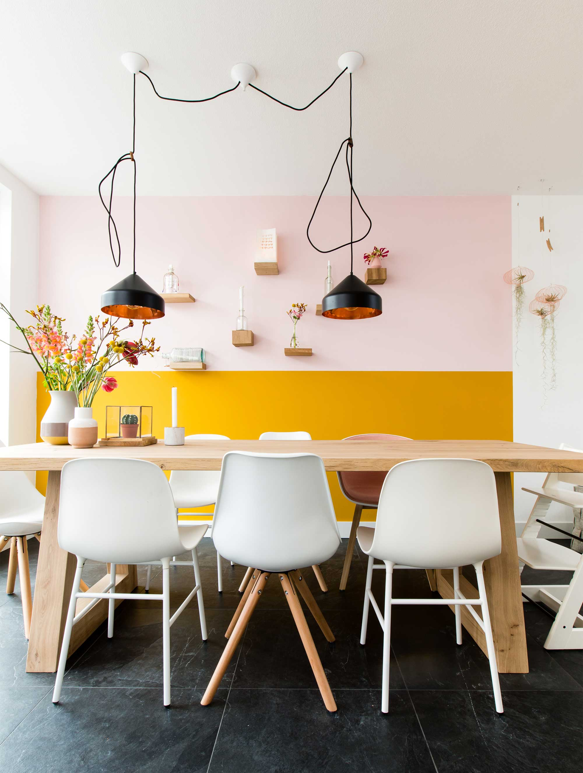 mustard and pink color scheme